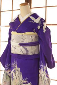 紫羽二重に鶴と山水画2