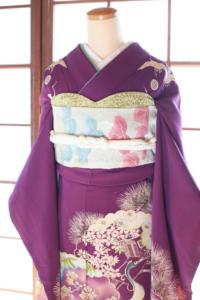 渋紫に桜松竹梅鶴